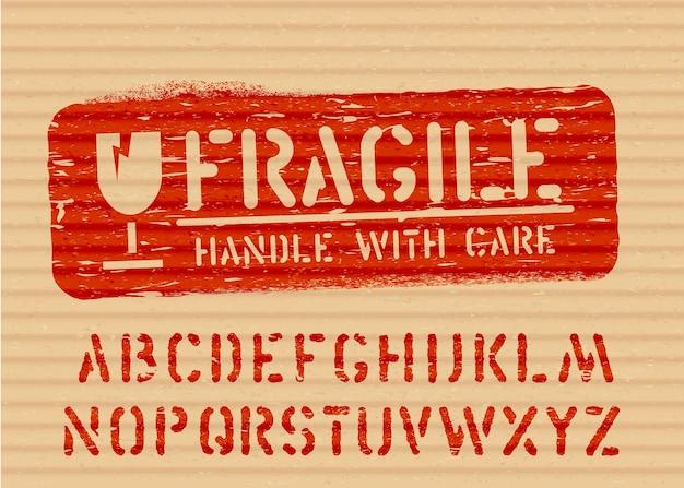 壊れやすいグランジベクトルボックスサインガラスアイコンとアルファベット