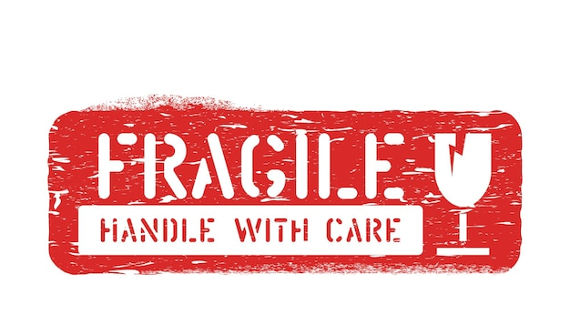 Fragile, handle with care inky rubber box sign for cargo, delivery and logistics isolated on white background