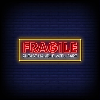 Fragile neon signs style text vector