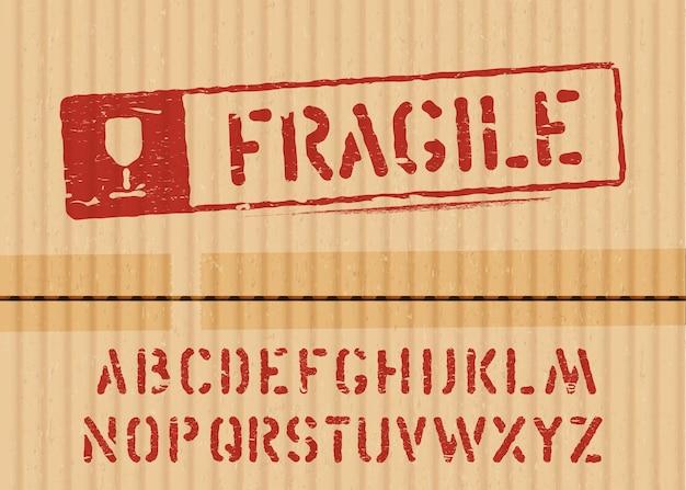 물류 또는 포장을위한 글꼴이있는화물 골판지 상자 배경에 깨지기 쉬운 기호