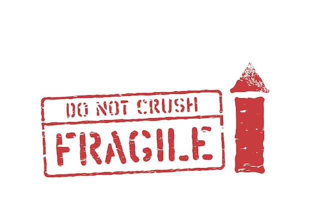 Fragile, this way up, do not crush grungy box signs and symbols for cargo. vector stamp imprint illustration with arrow