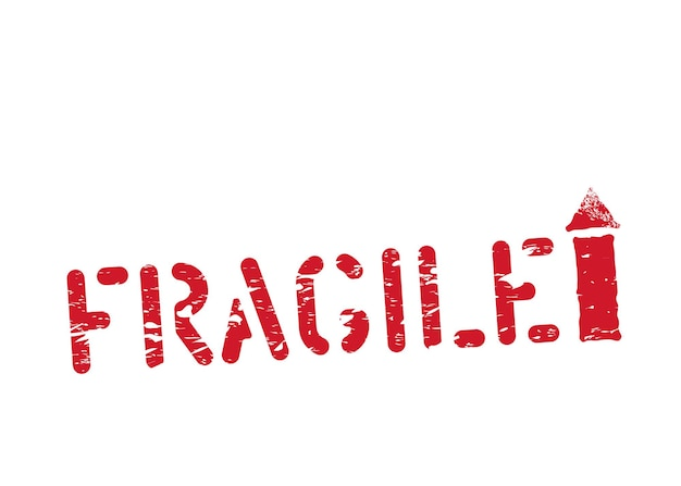 Fragile, this way up grunge box sign inky imprint for cargo and delivery isolated