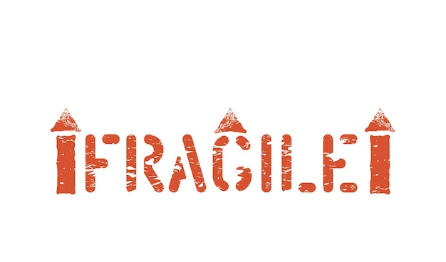 Fragile, this way up, handle with care grungy box signs and symbols for cargo. vector illustration with arrow and glass