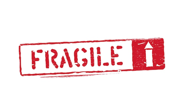Fragile this way up isolated grunge inky rubber box sign with arrow up for cargo, delivery and logistics