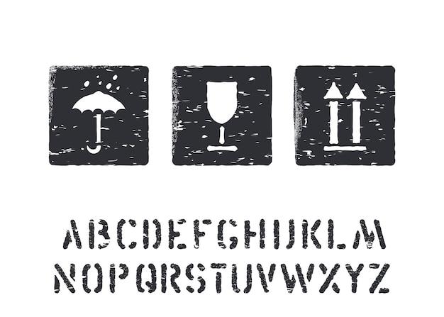 Хрупкая, изолированная. стандартные грузовые гранж-коробки подписывают резиновые штампы и алфавит для грузов, доставки и логистики. векторная иллюстрация.