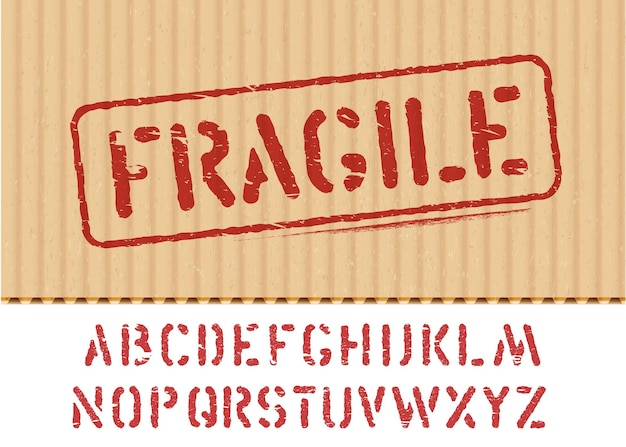 Fragile vector sign on cargo textured cardboard box background with font for logistics or packaging. means do not crush, handle with care. grunge alphabet included