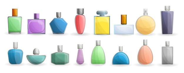 Fragrance bottles icon set, cartoon style