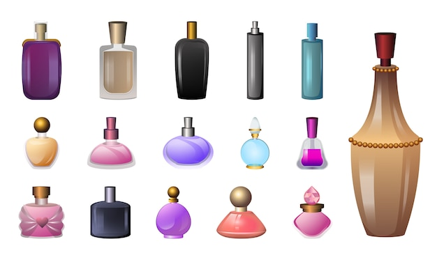Fragrance bottles icons set
