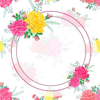 Frame abstract flowers rose