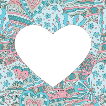 Frame on abstract painted background of hearts
