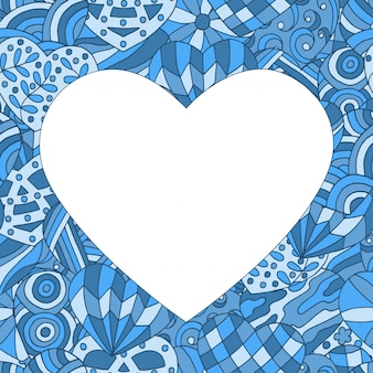 Frame on abstract painted of blue hearts