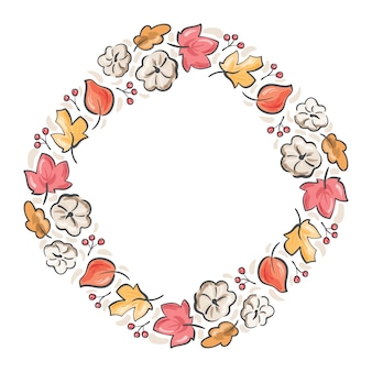 Frame autumn bouquet wreath. orange leaves, berries and pumpkin