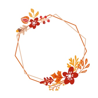 Frame autumn bouquet wreath with orange leaves and berries isolated on white