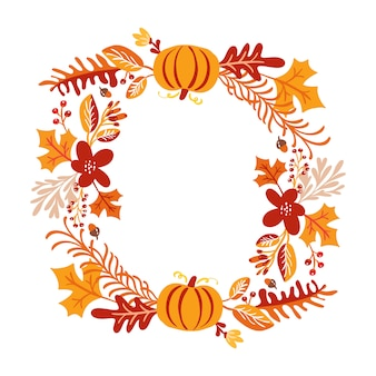 Frame of autumn bouquet wreath
