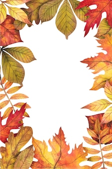 Frame of autumn leaves painted by watercolor, fall.