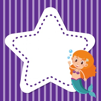 Frame background design with mermaid and star