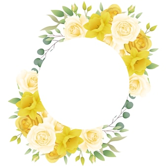 Frame background floral with roses and daffodils