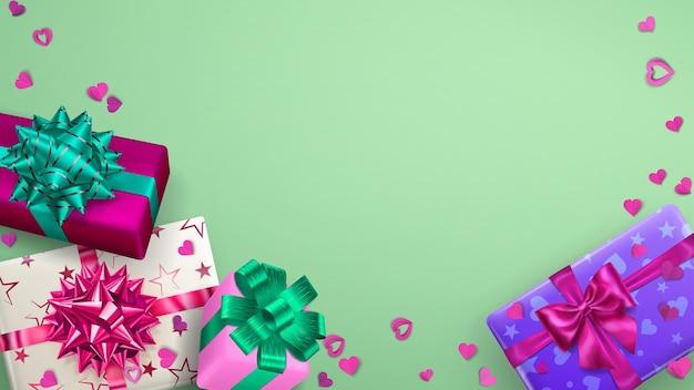 Фон рамки с разноцветными подарочными коробками с лентами, бантами и тенями и маленькими сердечками на светло-зеленом