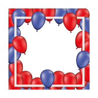 Frame background with red and blue balloons isolated