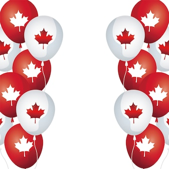 Frame of balloons helium with maple leafs canada