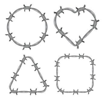 Frame barbed wire set