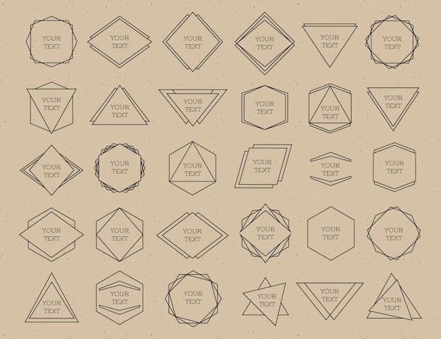 フレーム黒線分離したロゴが茶色の背景に設定。流行に敏感なスタイル。ロゴタイプセット。デザイン要素、ビジネスサイン、ロゴ、アイデンティティ、バッジ、ステッカー、その他のブランディングオブジェクト。