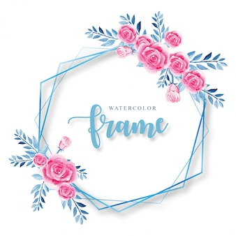 Frame blue and pink watercolor