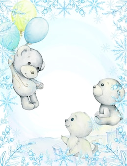 Frame, blue twigs and snowflakes. white bears, seal, balloons. cute polar animals