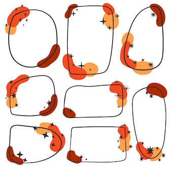 Frame boho style. minimalistic geometric frames hand painted. frame doodle set