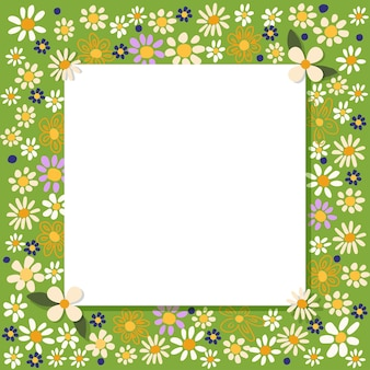Frame border design with cute daisy and chamomile flowers hand drawn vector illustration