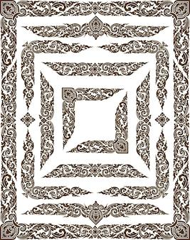 Frame and border of line thai art