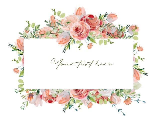 水彩画の春のピンクのバラの花野花の緑とユーカリの枝のフレームの境界線