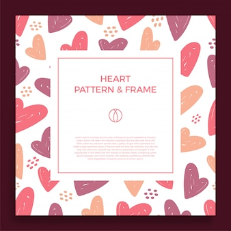 Frame border with love hand draw trendy color heart pattern.