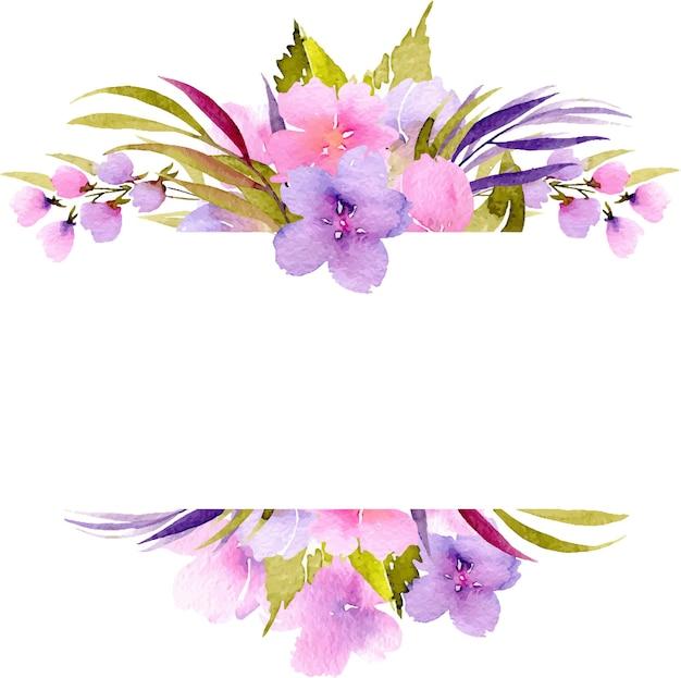 ピンクと紫の小さな野生の花と緑の植物のフレームのボーダー、