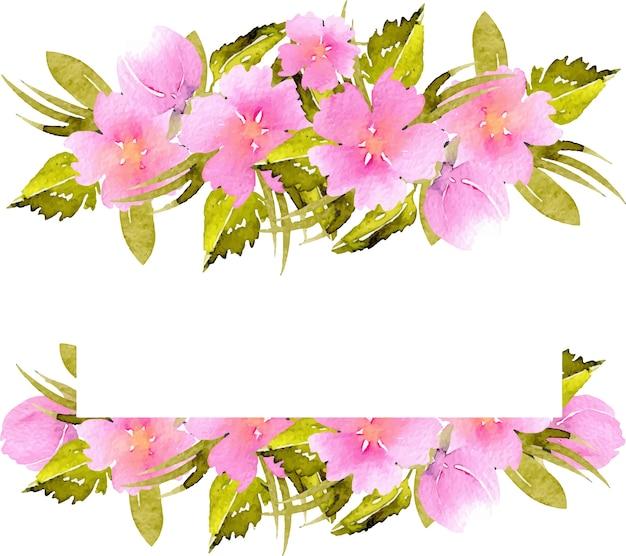 분홍색 작은 야생화와 녹색 식물이있는 프레임 테두리