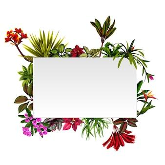 Рамочная ботаническая природа с акцентами цветов
