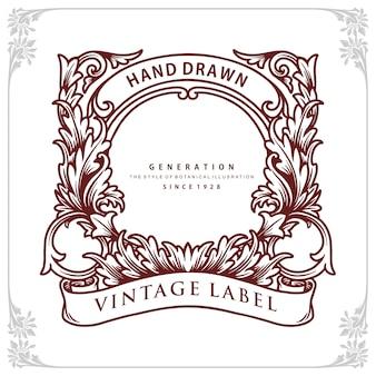 Frame  botanical vintage label