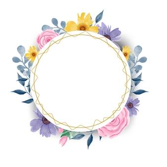 프레임 원형 수채화 꽃 디자인