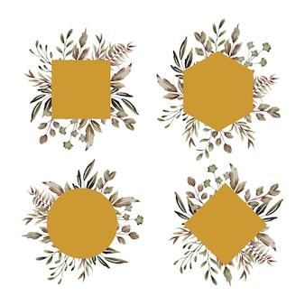 Коллекция рамок с элементами листьев акварель