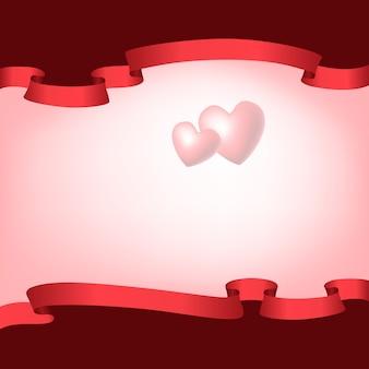 Рамочная композиция с красными лентами