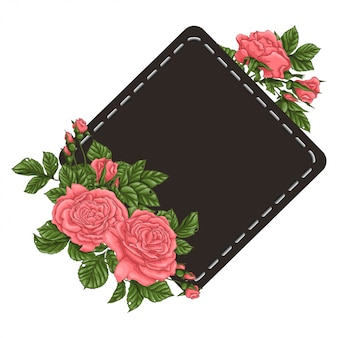 Frame of coral roses.