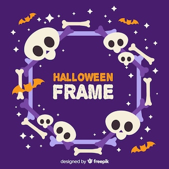 Frame of cute cartoon halloween skulls