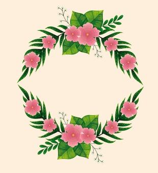 Cornice di simpatici fiori rosa con rami e foglie