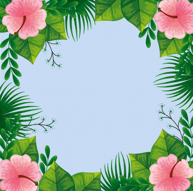 Frame of cute pink flowers with leaves
