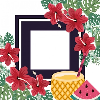 Frame of delicious tropical fruits