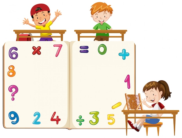 Frame design template with kids and numbers