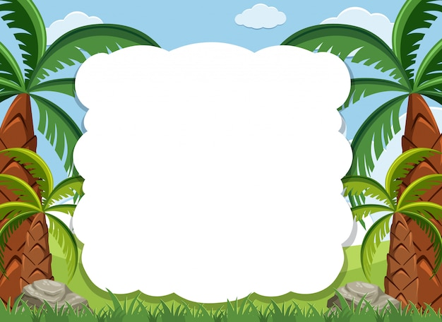 Frame design template with many trees in background