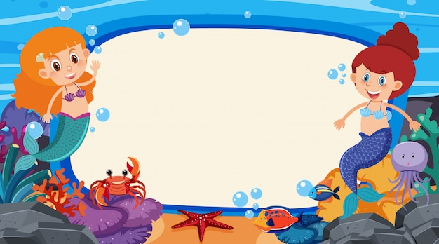 Frame design template with mermaid and fish