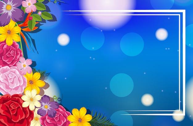 色とりどりの花の背景を持つフレームデザイン