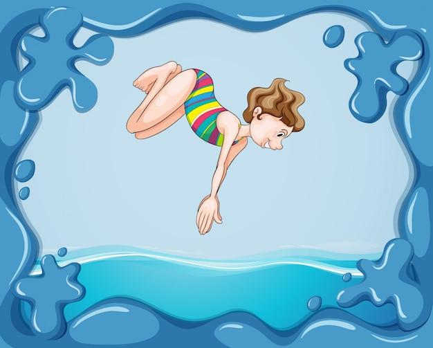 물에 다이빙하는 여자와 프레임 디자인 무료 벡터